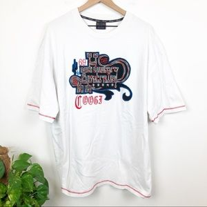 Vintage Coogi White Embroidered T Shirt XXXL